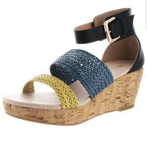 Womens Restricted Brazil Cork Wedge Sandals SZ 8